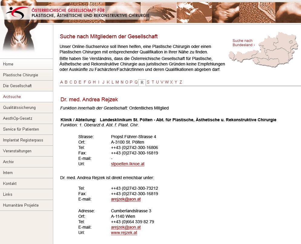 Dr. med. Andrea Rejzek bei der Österreichische Geselschaft für Plastische, Ästhetische und Rekonstruktive Chirurgie